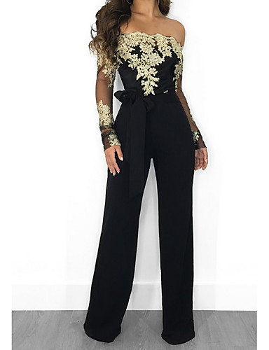 cheap Women's Jumpsuits & Rompers-Women's Kentucky Derby Black Wine Royal Blue Wide Leg Jumpsuit, Floral Lace / Tulle / Chiffon M L XL Spring Summer Fall / Winter