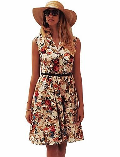 お買い得  レディースドレス-女性の膝丈aラインドレスブラックイエローs m l xl