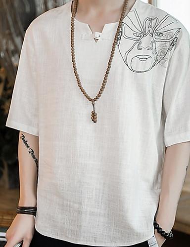voordelige Heren T-shirts & tanktops-Heren T-shirt Effen V-hals Wit