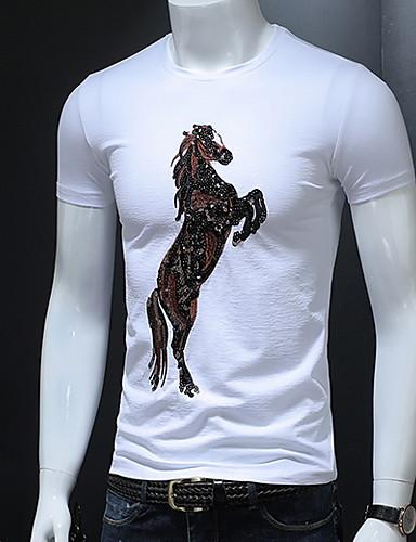 男性用 Tシャツ ラウンドネック 動物 ホワイト XXL