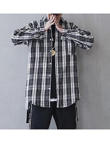 男性用 シャツ スタンドカラー スリム ストライプ ブラック L