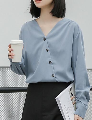 Kadın's V Yaka İnce - Bluz Solid Havuz S