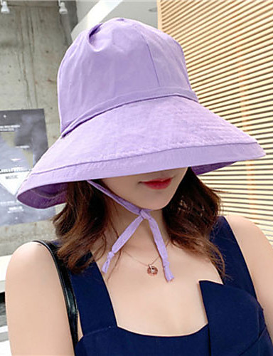 737b3578b9661 Women s Cute Polyester Floppy Hat Sun Hat-Solid Colored Summer All Seasons  Beige Yellow Lavender