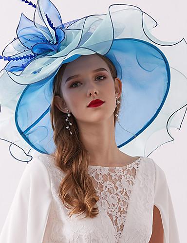 billige Hatte & Imponeringer-organza / Fjær Kentucky Derby Hat / fascinators / Hodepryd med Fjær / Blomst / Lag-på-lag 1 Deler Bryllup / utendørs Hodeplagg