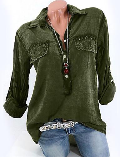 povoljno Majica-Majica Žene Pamuk Jednobojni Kragna košulje Dusty Rose Navy Plava