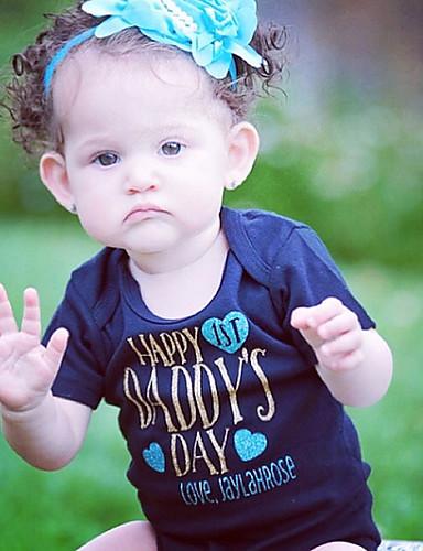 Μωρό Κοριτσίστικα Ενεργό / Βασικό Γεωμετρικό / Στάμπα Στυλ Καρδία / Εκτύπωση Κοντομάνικο Βαμβάκι / Πολυεστέρας Ένα Κομμάτι Θαλασσί