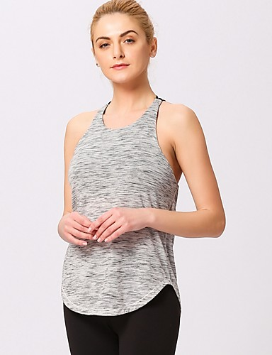 f5de1b2edb6 Women s Lace Yoga Top Padded Tank Top Light Grey Dark Gray Sports Solid  Color Spandex Elastane Tank Top Top Yoga Fitness Gym Workout Sleeveless  Activewear ...