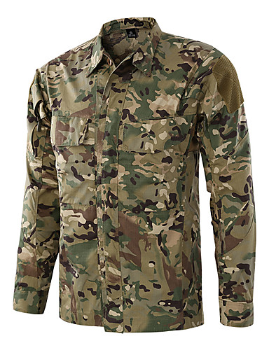 b779cfa8809 Men s Long Sleeve Camo Hiking Shirt   Button Down Shirts Outdoor Autumn    Fall Spring Quick Dry Breathability Wearable Softness Cotton Shirt Top  Black Army ...