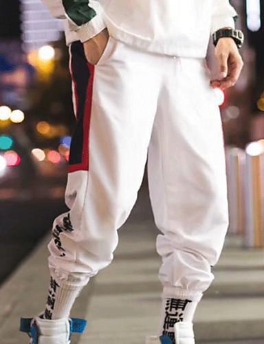 男性用 ストリートファッション チノパン パンツ - 幾何学模様 ホワイト