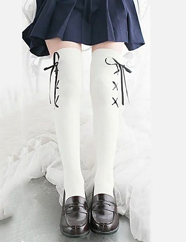 8adc98b0899 Cosplay Women s Adults  Princess Lolita Tights Girly Socks   Long Stockings  Thigh High Socks Black White Black Lines   Waves Velour Lolita Accessories  ...