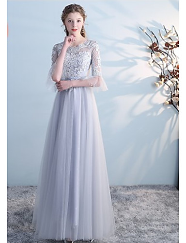 e66b1fb3421 A-Line Scoop Neck Floor Length Tulle Bridesmaid Dress with Embroidery by  LAN TING Express