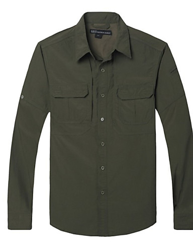 cheap Outdoor Clothing-Men's Solid Color Hiking Shirt / Button Down Shirts Long Sleeve Outdoor Breathable Quick Dry Multi Pocket Roll up Sleeves Shirt Top Autumn / Fall Spring Nylon Dark Grey Forest Green Khaki Traveling