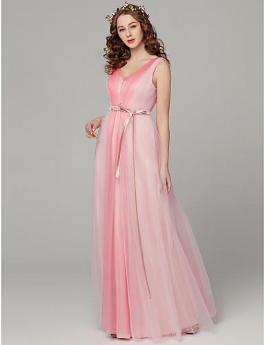 984d6cef0eb9 Sheath / Column V Neck Floor Length Tulle Bridesmaid Dress with Sash /  Ribbon / Pleats by LAN TING BRIDE® / Color Block