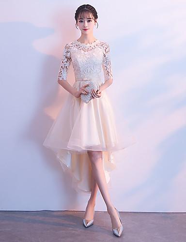 abordables Vestidos de Dama de Honor-Corte en A Escote de ilusión Asimétrica Tul Vestido de Dama de Honor con Encaje por LAN TING Express