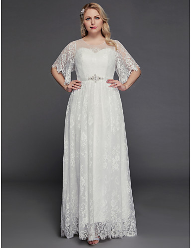 33bab3d23b50 Plus Size A-Line V Neck / Jewel Neck Floor Length Lace / Tulle  Made-To-Measure Wedding Dresses with Beading / Lace Insert by LAN TING BRIDE®  / Petal Sleeve ...