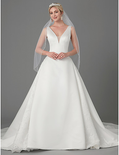 ca71d80f5 A-Line Plunging Neck Chapel Train Lace / Satin Made-To-Measure Wedding  Dresses with Buttons by LAN TING BRIDE®