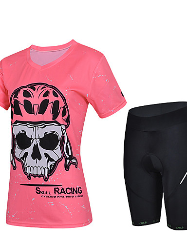 cheap Cycling Clothing-cheji® Women's Short Sleeve Cycling Jersey with Shorts - Red Pink Dark Pink Bike Jersey Padded Shorts / Chamois Clothing Suit Quick Dry Sports Lycra Solid Colored Mountain Bike MTB Road Bike Cycling