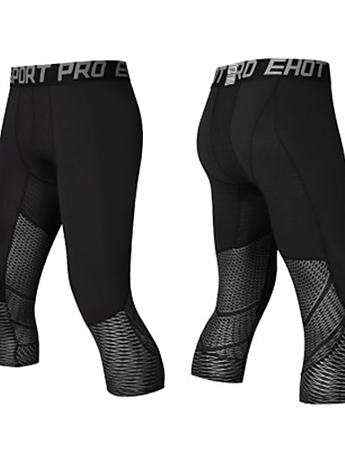 cheap Cycling Clothing-Men's Compression Pants Compression Base layer Tights Bottoms Lightweight Breathable Quick Dry Soft Sweat-wicking Black / Blue Black+Sliver Road Bike Mountain Bike MTB Basketball Stretchy