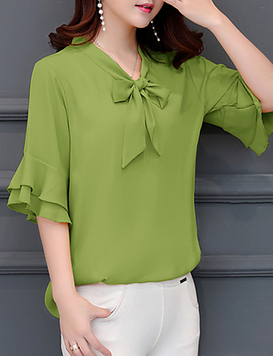 billige Dametopper-V-hals Store størrelser Bluse Dame - Ensfarget Grønn