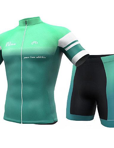 cheap Cycling Clothing-INBIKE Men's Short Sleeve Cycling Jersey with Shorts - Mint Green Solid Color Bike Clothing Suit Breathable Quick Dry Sports Spandex Solid Color Mountain Bike MTB Road Bike Cycling Clothing Apparel