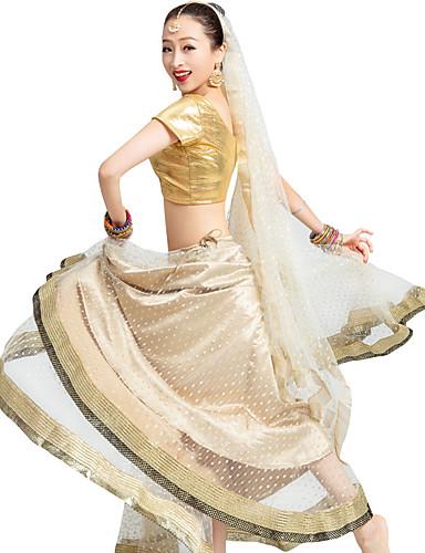 Недорогие Этнический и культурный костюмы-Индийская девушка Болливуд Взрослые Жен. азиатский Пайетки Churidar Salwar Suit Сари Назначение Выступление Хлопок Длинный Кофты Юбки Головные уборы
