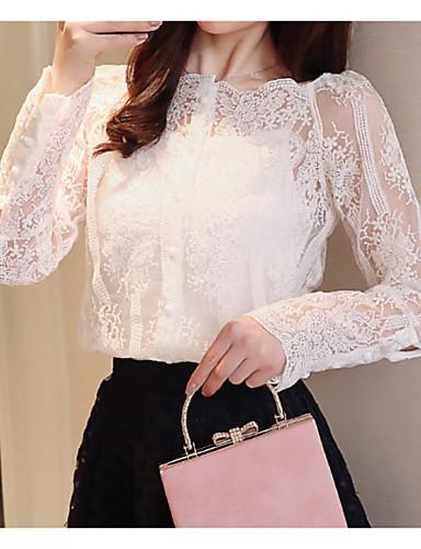 billige Topper til damer-Firkantet hals Skjorte Dame - Ensfarget, Blonde Hvit