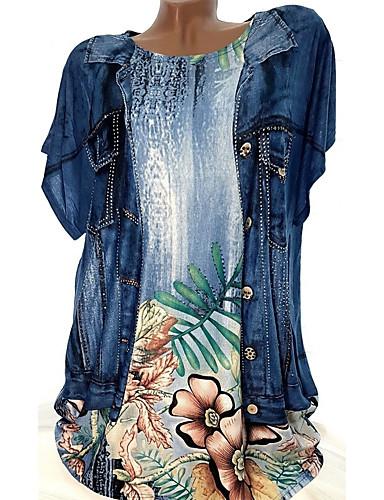 abordables Hauts pour Femmes-Chemise Grandes Tailles Femme, Fleur - Coton Ample Vert XXXL / Printemps / Eté