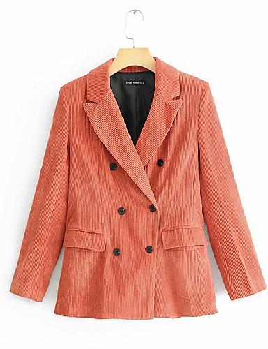 Femme Travail Normal Manteau, Couleur Pleine Col rabattu Manches Longues Polyester Orange S / M / L