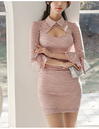 Dame Elegant Kroppstett Kjole Kjole - Ensfarget Mini