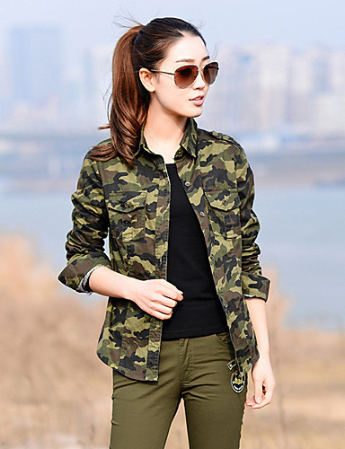 25220eb40 Women's Long Sleeve Camo Hiking Shirt / Button Down Shirts Outdoor Autumn /  Fall Spring Lightweight Quick Dry Breathability Wearable Cotton Shirt  Camouflage ...