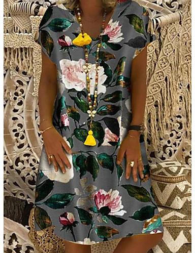 abordables Robes Femme-Femme Basique Mi-long Mince Courte Robe - Imprimé, Fleur U Profond Blanche Bleu Marine Gris S M L Manches Courtes