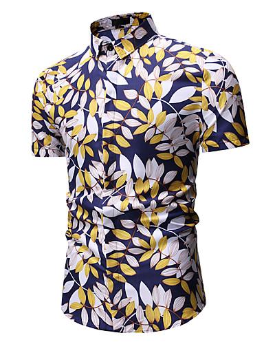 voordelige Herenoverhemden-Heren Print Overhemd Bomen / bladeren Klassieke boord Goud / Korte mouw