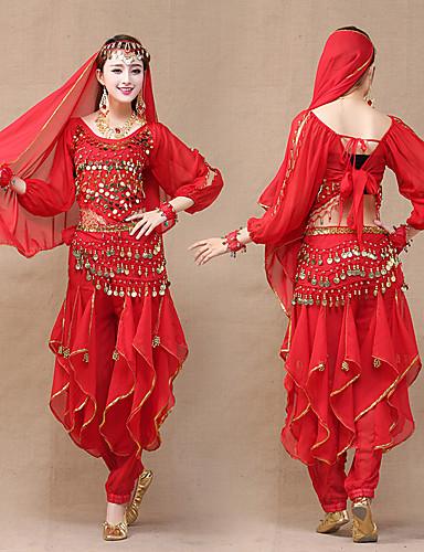 levne Etnické a kulturní Kostýmy-Indická dívka Bollywood Dospělé Dámské Asijský styl Flitry Břišní taneční kostým Pro Výkon Festival Šifon Flitr Vrchní deska Kalhoty Vlasové ozdoby