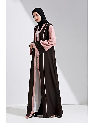 Per Donna Moda Città Elegante Abaya Caftano Vestito - Lacci Collage, Monocolore Maxi #07194721