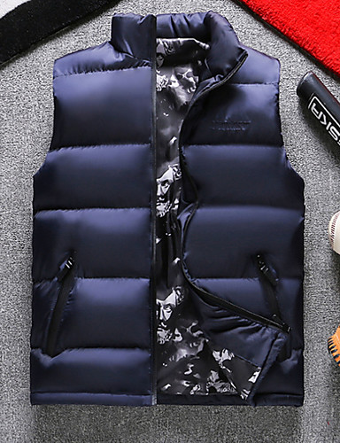 voordelige Heren donsjassen & parka's-Heren Dagelijks Standaard Effen Normaal Vest, Polyester Mouwloos Winter Coltrui blauw / Zwart / Wijn XXXXXL / XXXXXXL / 8XL