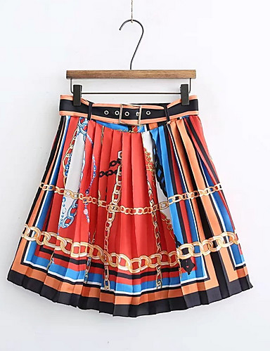 cheap Women's Skirts-Women's Basic A Line Skirts - Rainbow Print Rainbow S M L