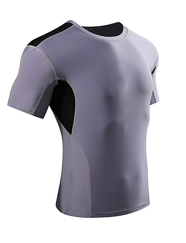 cheap Compression Clothing-Men's Women's Compression Shirt Short Sleeve Compression Base layer T Shirt Top Plus Size Lightweight Breathable Quick Dry Soft Sweat-wicking Red Blue Grey Lycra Road Bike Mountain Bike MTB Basketball