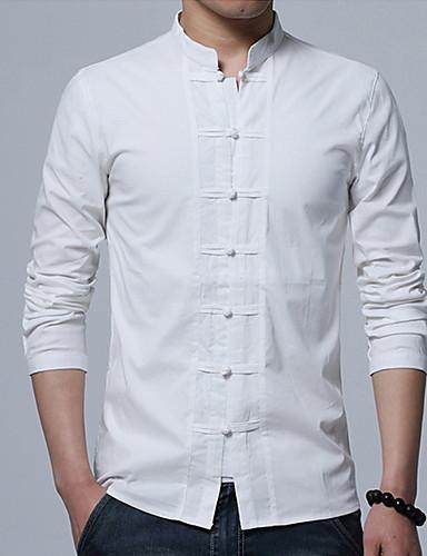 voordelige Herenoverhemden-Heren Patchwork Overhemd Katoen Effen Opstaande boord Slank Zwart