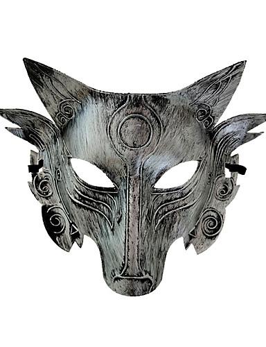 billige Halloweenkostymer-warewolf Cosplay Kostumer Maske Voksne Herre Halloween Halloween Maskerade Festival / høytid Plastikker Sølv / Gylden Karneval Kostumer Dyr