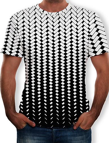 a4313d14 Men's T-shirt - Color Block / 3D / Graphic Print Round Neck White XXXXL