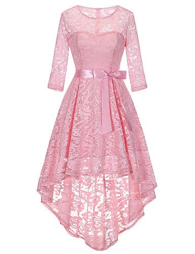billige Kjoler-Dame Vintage Elegant Skjede Swing Kjole - Ensfarget, Blonde Sløyfe Asymmetrisk