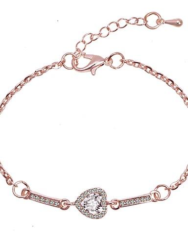 abordables Bracelet Or Rose-Bracelet Chaîne Femme Classique Amour Elégant simple Romantique Le style mignon Bracelet Bijoux Argent Or Rose pour Anniversaire Quotidien Formel