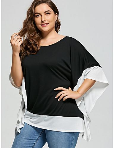 abordables Hauts pour Femme-Tee-shirt Grandes Tailles Femme, Bloc de Couleur Noir