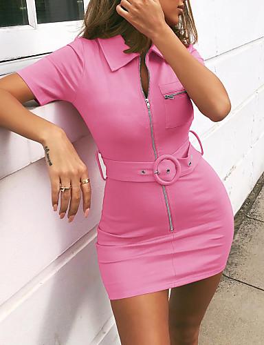 abordables Robes Femme-Femme Basique Mini Moulante Gaine Robe Couleur Pleine Noir Rose Claire Jaune L XL XXL Manches Courtes