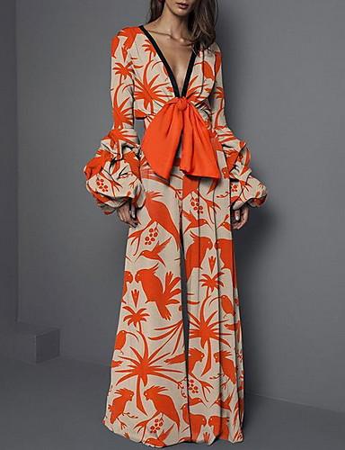 billige Dametopper-Dame Oransje Kjeledresser, Blomstret S M L
