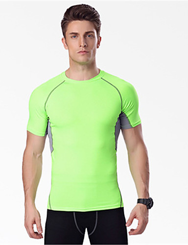 cheap Cycling Clothing-Men's Compression Shirt Short Sleeve Compression Base layer T Shirt Top Thermal / Warm Breathable Quick Dry Sweat-wicking Black / Green Gray+Green Dark Gray Road Bike Mountain Bike MTB Basketball