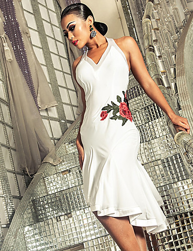 cheap New Arrivals-Latin Dance Dresses Women's Performance Spandex Embroidery / Ruching Sleeveless Dress