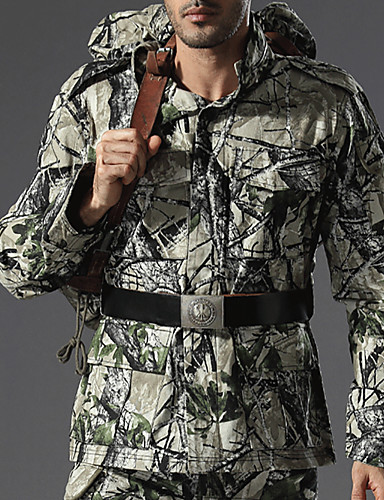 cheap Outdoor Clothing-Men's Camo Hiking Shirt / Button Down Shirts Long Sleeve Outdoor Windproof Quick Dry Wear Resistance Top Autumn / Fall Spring Cotton Army Green Green / Black Black / Green Hunting Camping / Hiking