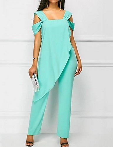 cheap Women's Jumpsuits & Rompers-Women's Kentucky Derby Black White Green Harem Slim Jumpsuit, Solid Colored Ruffle / Chiffon / Fashion S M L Spring Summer Fall / Winter