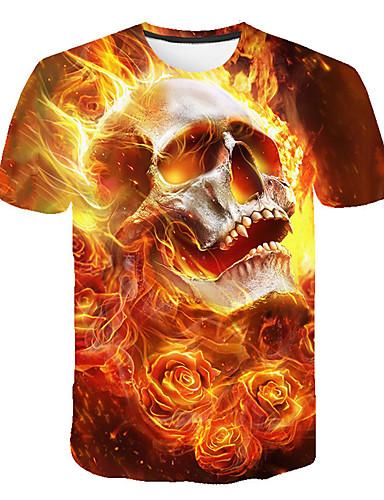 abordables T-shirts & Débardeurs Homme-Tee-shirt Homme, Crânes Imprimé Soirée Basique / Chic de Rue Col Arrondi Jaune XXXL / Manches Courtes